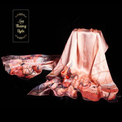 Khăn lụa song ngư hồng